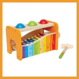 Product image of Hape Pound & Tap Bench with Slide-Out Xylophone