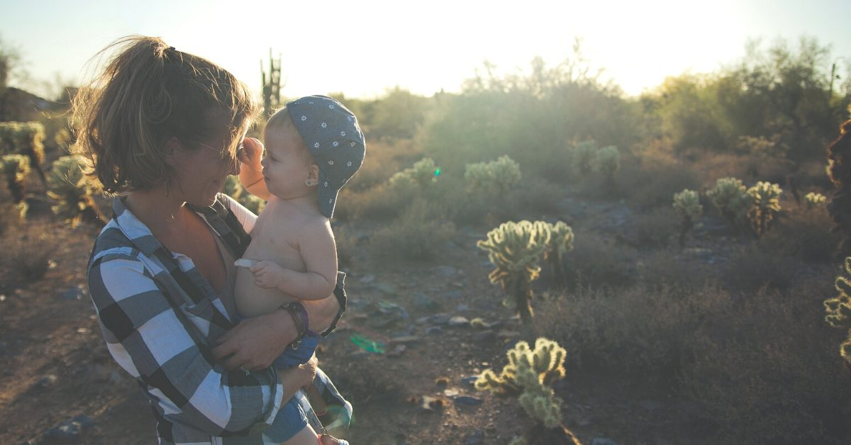 Mother and Her Little Boy Enjoying the Outdoors
