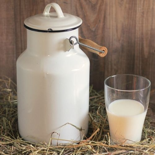 Fresh cow's milk in a can and glass