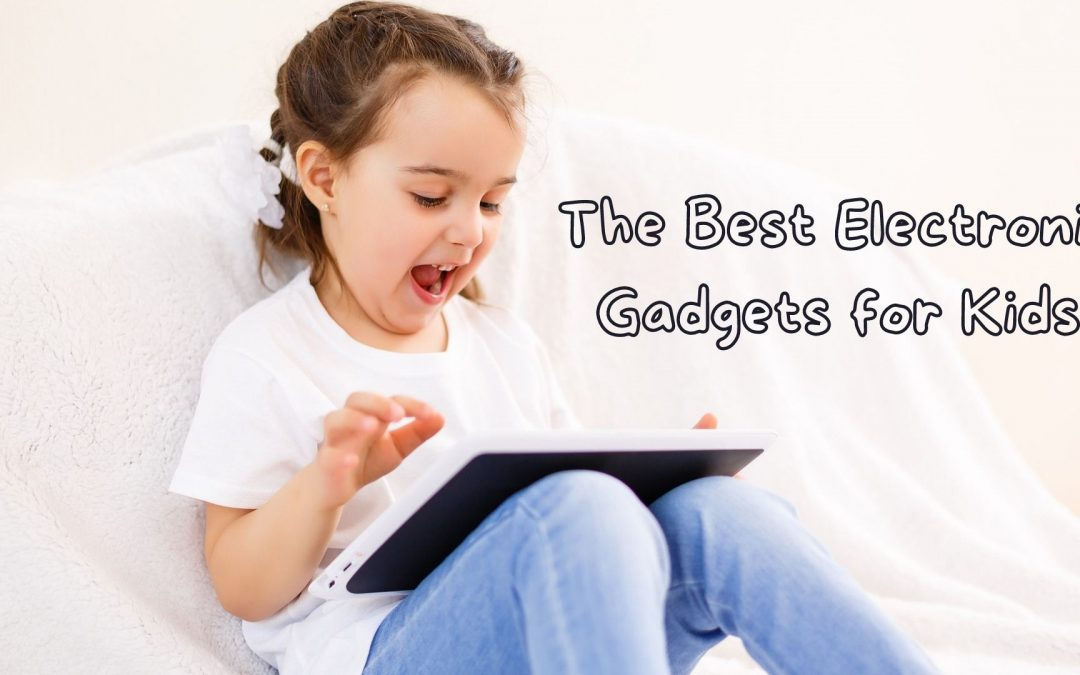 A toddler excitedly playing with a Tablet