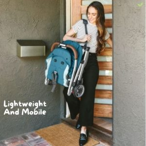 Mother carrying a lightweight UPPAbaby MINU Stroller
